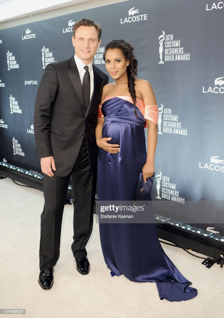 Actors <a gi-track='captionPersonalityLinkClicked' href=/galleries/search?phrase=Tony+Goldwyn&family=editorial&specificpeople=234897 ng-click='$event.stopPropagation()'>Tony Goldwyn</a> (L) and <a gi-track='captionPersonalityLinkClicked' href=/galleries/search?phrase=Kerry+Washington&family=editorial&specificpeople=201534 ng-click='$event.stopPropagation()'>Kerry Washington</a> attend the 16th Costume Designers Guild Awards with presenting sponsor Lacoste at The Beverly Hilton Hotel on February 22, 2014 in Beverly Hills, California.