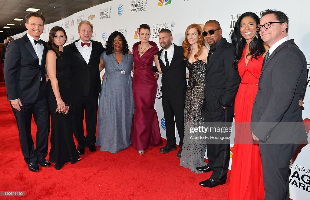 Actors Tony Goldwyn, Katie Lowes, Jeff Perry, writer/producer Shonda Rhimes, actors Bellamy Young, Guillermo Diaz, Darby Stanchfield, Columbus Short, CEO of Smith and Company Judy Smith and Joshua Malina attend the 44th NAACP Image Awards at The Shrine Auditorium on February 1, 2013 in Los Angeles, California.