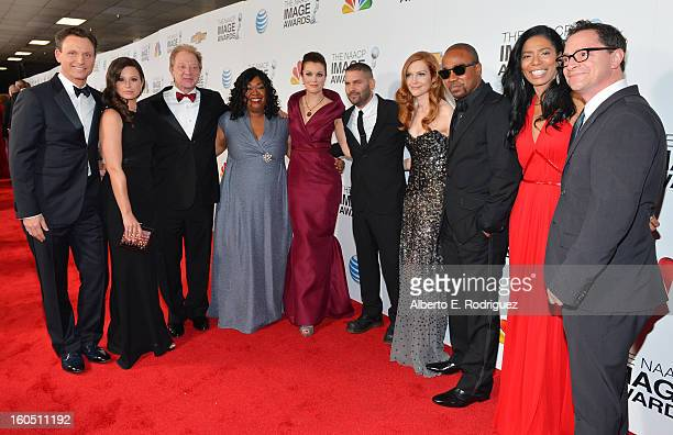 Actors Tony Goldwyn Katie Lowes Jeff Perry writer/producer Shonda Rhimes actors Bellamy Young Guillermo Diaz Darby Stanchfield Columbus Short CEO of...