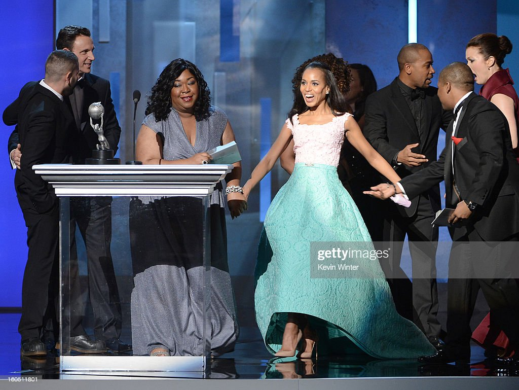 Actors Tony Goldwyn, producer Shondra Rhimes and actors Kerry Washington speak onstage during the 44th NAACP Image Awards at The Shrine Auditorium on February 1, 2013 in Los Angeles, California.