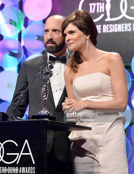 Actors Tony Hale and Betsy Brandt present the award for Excellence in a Fantasy Film onstage during the 17th Costume Designers Guild Awards with...