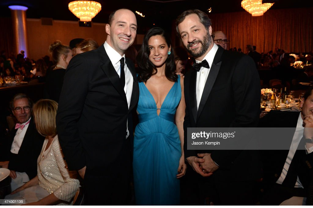 Actors Tony Hale and Olivia Munn and honoree Judd Apatow attend the 16th Costume Designers Guild Awards with presenting sponsor Lacoste at The Beverly Hilton Hotel on February 22, 2014 in Beverly Hills, California.