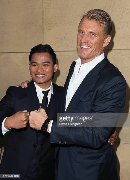 Actors Tony Jaa and Dolph Lundgren attend the premiere of 'Skin Trade' at the Egyptian Theatre on May 6 2015 in Hollywood California