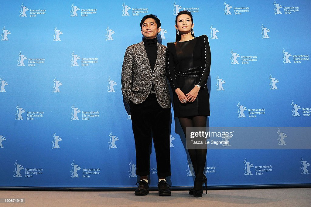 Actors Tony Leung Chiu Wai and <a gi-track='captionPersonalityLinkClicked' href=/galleries/search?phrase=Ziyi+Zhang&family=editorial&specificpeople=172013 ng-click='$event.stopPropagation()'>Ziyi Zhang</a> attend 'The Grandmaster' Photocall during the 63rd Berlinale International Film Festival at The Grand Hyatt Hotel on February 7, 2013 in Berlin, Germany.