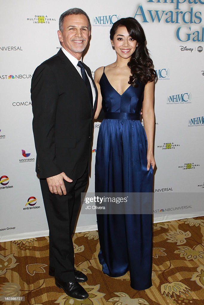 Actors Tony Plana (L) and Aimee Garcia attend National Hispanic Media Coalition's 16th Annual Impact Awards Gala at the Beverly Wilshire Four Seasons Hotel on February 22, 2013 in Beverly Hills, California.