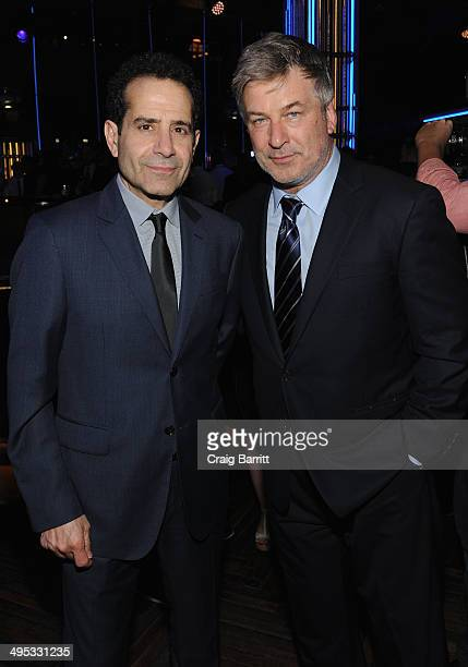 Actors Tony Shalhoub and Alec Baldwin attend the 2014 Tony Honors Cocktail Party at the Paramount Hotel on June 2 2014 in New York City