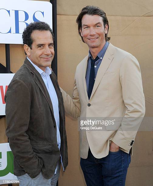 Actors Tony Shalhoub and Jerry O'Connell arrive at the CBS/CW/Showtime Television Critic Association's summer press tour party at 9900 Wilshire Blvd...