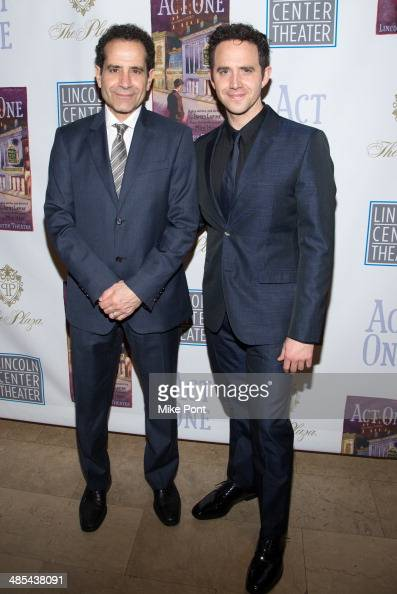 Actors Tony Shalhoub and Santino Fontana attend the opening night party for 'Act One' at The Plaza Hotel on April 17 2014 in New York City