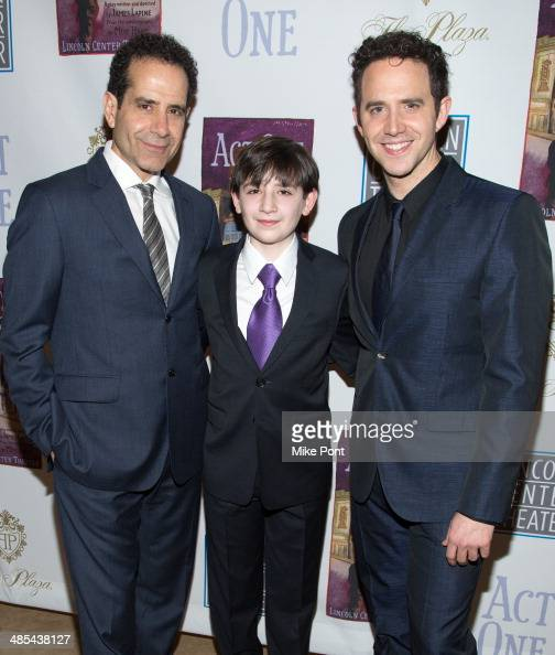 Actors Tony Shalhoub Matthew Schechter and Santino Fontana attend the opening night party for 'Act One' at The Plaza Hotel on April 17 2014 in New...