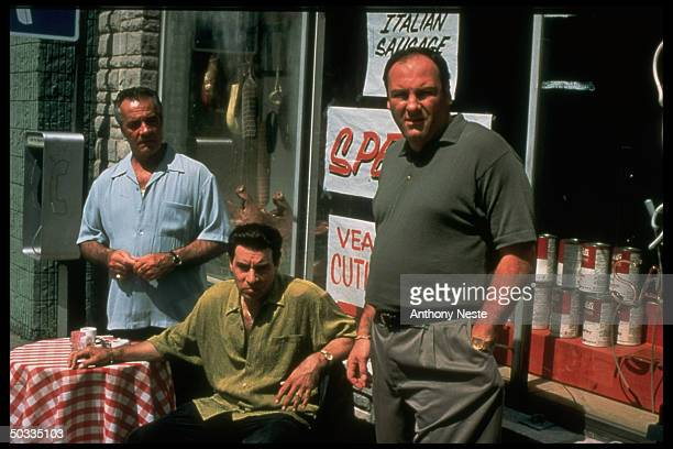 Actors Tony Sirico Steven Van Zandt and James Gandolfini in a publicity still for the HBO TV series The Sopranos