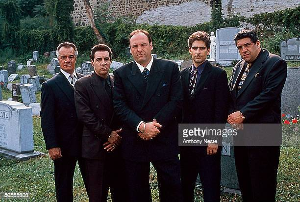 Actors Tony Sirico Steven Van Zandt James Gandolfini Michael Imperioli Vincent Pastore in publicity still for HBO cable TV series The Sopranos