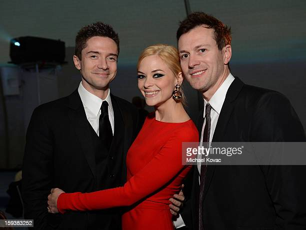 Actors Topher Grace Jaime King and Kyle Newman attend The Art of Elysium's 6th Annual HEAVEN Gala presented by Audi at 2nd Street Tunnel on January...