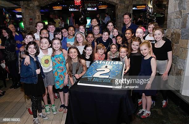 Actors Tori Feinstein Eliza Holland Madore Fina Ztrazza Brooklyn Shuck and cast attend 'Matilda' On Broadway Second Anniversary Celebration at...