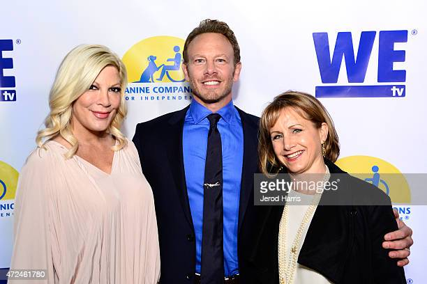 Actors Tori Spelling Ian Ziering and Gabrielle Carteris attend an event hosted by WE tv and Ian Ziering to raise awareness for Canine Companions for...