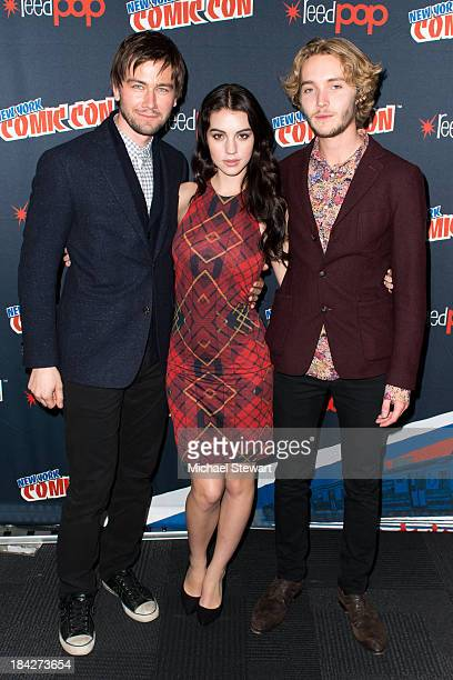 Actors Torrance Coombs Adelaide Kane and Toby Regbo attend New York Comic Con 2013 at Jacob Javits Center on October 12 2013 in New York City