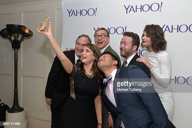 Actors Trace Beaulieu and Milana Vayntrub producer Paul Feig and actors Neil Casey Conor Leslie and Eugene Cordero take a selfie at the launch party...