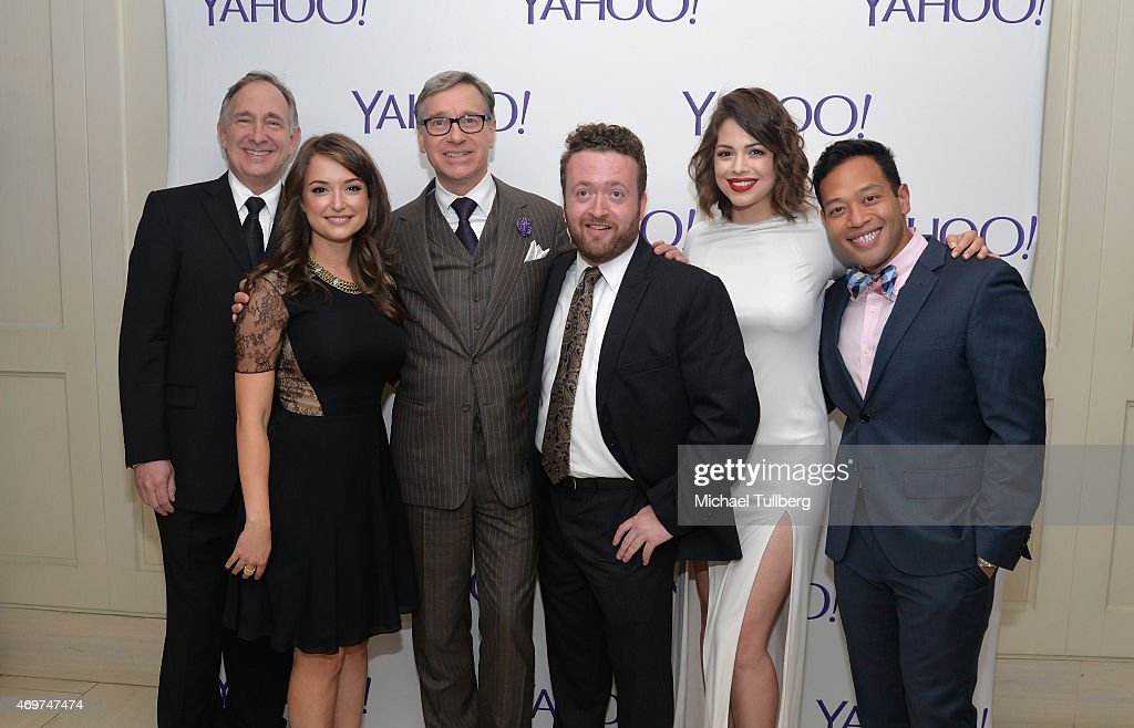 Actors Trace Beaulieu and Milana Vayntrub producer Paul Feig and actors Neil Casey Conor Leslie and Eugene Cordero attend the launch party for Yahoo...