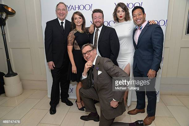 Actors Trace Beaulieu Milana Vayntrub Neil Casey Conor Leslie and Eugene Cordero and producer Paul Feig attend the launch party for Yahoo Screen's...