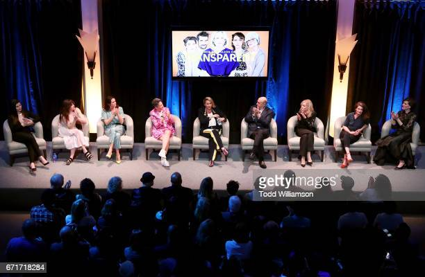 Actors Trace Lysette Kathryn Hahn and Amy Landecker creator Jill Soloway singer Alanis Morissette actors Jeffrey Tambor Judith Light and Gaby...