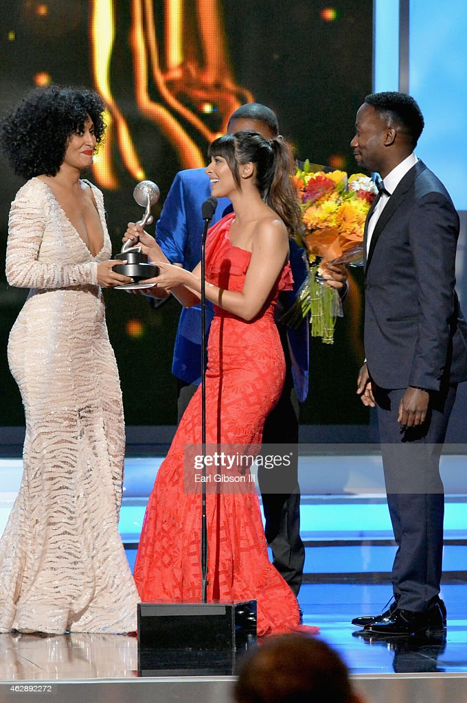 Actors Tracee Ellis Ross Hannah Simone and Lamorne Morris onstage at the 46th Annual NAACP Image Awards on February 6 2015 in Pasadena California