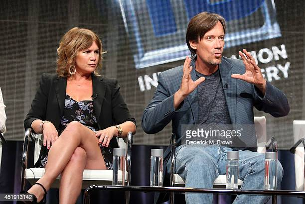 Actors Tracey Gold and Kevin Sorbo speak onstage at the 'Heartbreakers' panel during the Discovery Communications portion of the 2014 Summer...