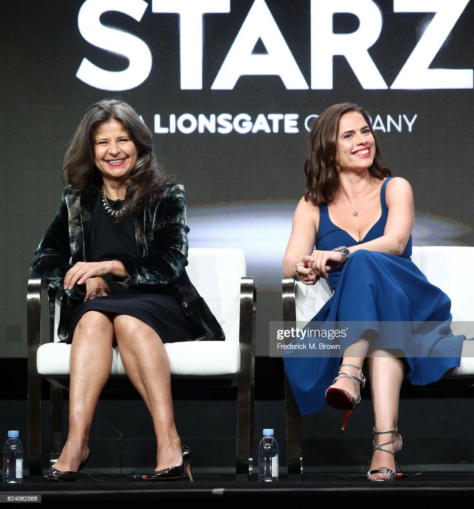Actors Tracey Ullman (L) and Hayley Atwell of 'Howards End' speak onstage during the Starz portion of the 2017 Summer Television Critics Association Press Tour at The Beverly Hilton Hotel on July 28, 2017 in Beverly Hills, California.