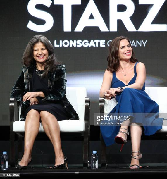 Actors Tracey Ullman and Hayley Atwell of 'Howards End' speak onstage during the Starz portion of the 2017 Summer Television Critics Association...