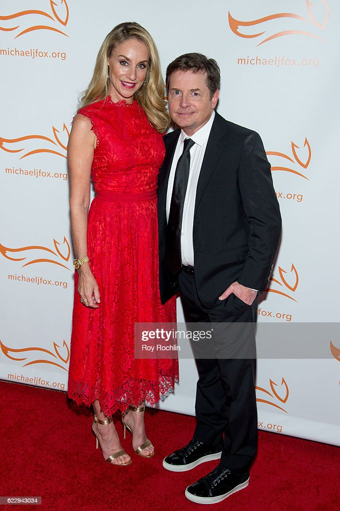 Actors Tracy Pollan and Michael J. Fox attends the 2016 A Funny Thing Happened On The Way To Cure Parkinson's at The Waldorf=Astoria on November 12, 2016 in New York City.