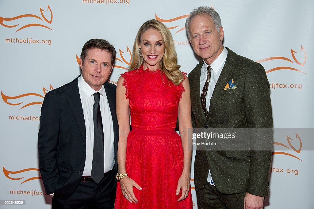 Actors Tracy Pollan and Michael J. Fox with designer Tinker Hatfield attends the 2016 A Funny Thing Happened On The Way To Cure Parkinson's at The Waldorf=Astoria on November 12, 2016 in New York City.