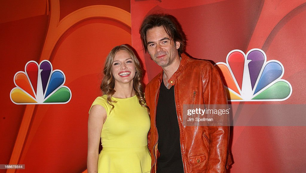 Actors Tracy Spiridakos and Billy Burke attends 2013 NBC Upfront Presentation Red Carpet Event at Radio City Music Hall on May 13, 2013 in New York City.