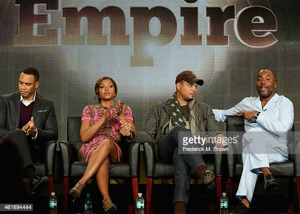 Actors Trai Byers Taraji P Henson Terrence Howard and creator/writer/executive producer Lee Daniels speaks onstage during the 'Empire' panel...