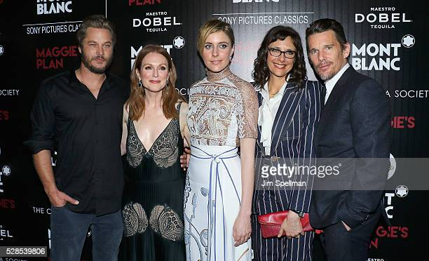 Actors Travis Fimmel Julianne Moore Greta Gerwig director Rebecca Miller and actor Ethan Hawke attend the screening of Sony Pictures Classics'...