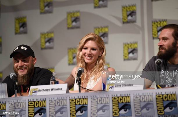 Actors Travis Fimmel Katheryn Winnick and Clive Standen speak at a panel for the History series 'Vikings' during ComicCon 2014 at the San Diego...