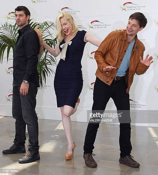 Actors Travis Milne Charlotte Sullivan and Gregory Smith pose during a photocall for the TV show 'Rookie Blue' as part of the 2011 Monte Carlo...
