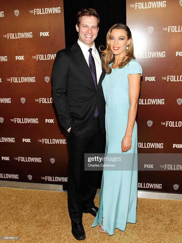 Actors Travis Schuldt and Natalie Zea attend 'The Following' premiere at The New York Public Library on January 18, 2013 in New York City.