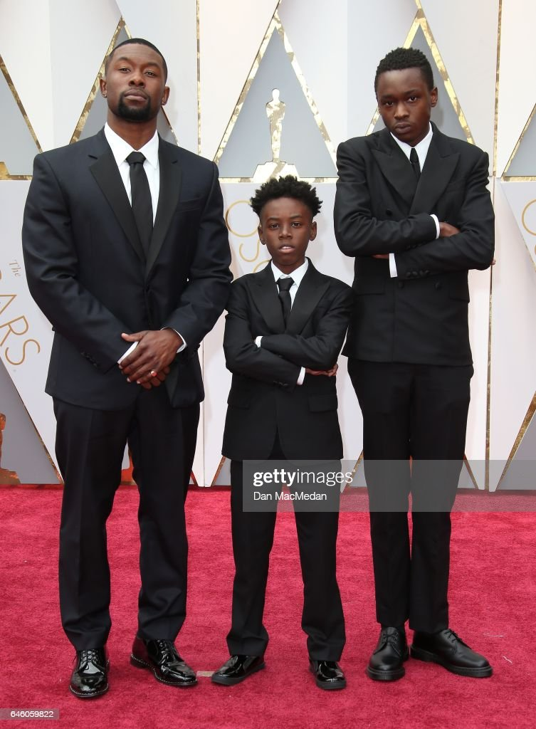 Actors Trevante Rhodes, Alex R. Hibbert and Ashton Sanders arrive at the 89th Annual Academy Awards at Hollywood & Highland Center on February 26, 2017 in Hollywood, California.