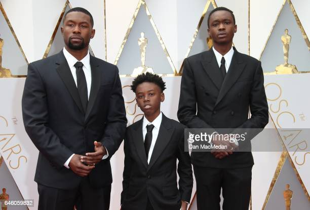 Actors Trevante Rhodes Alex R Hibbert and Ashton Sanders arrive at the 89th Annual Academy Awards at Hollywood Highland Center on February 26 2017 in...