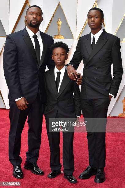 Actors Trevante Rhodes Alex R Hibbert and Ashton Sanders attend the 89th Annual Academy Awards at Hollywood Highland Center on February 26 2017 in...