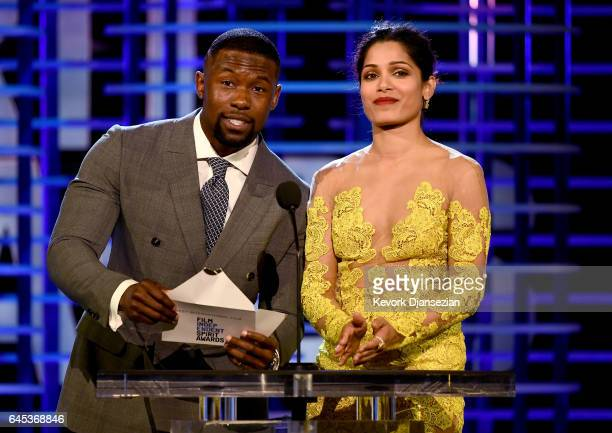 Actors Trevante Rhodes and Freida Pinto speak onstage during the 2017 Film Independent Spirit Awards at the Santa Monica Pier on February 25 2017 in...