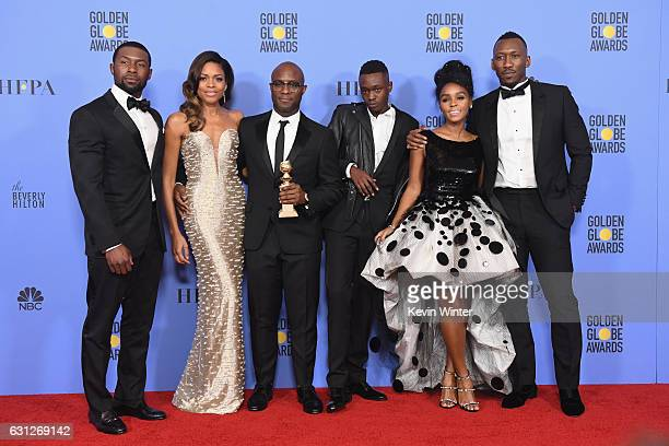 Actors Trevante Rhodes and Naomie Harris director Barry Jenkins actors Ashton Sanders Janelle Monae and Mahershala Ali of 'Moonlight' winner of Best...