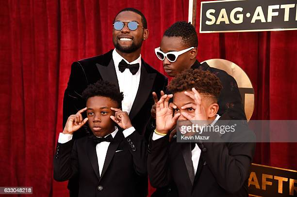 Actors Trevante Rhodes Ashton Sanders Alex R Hibbert and Jaden Piner attend The 23rd Annual Screen Actors Guild Awards at The Shrine Auditorium on...