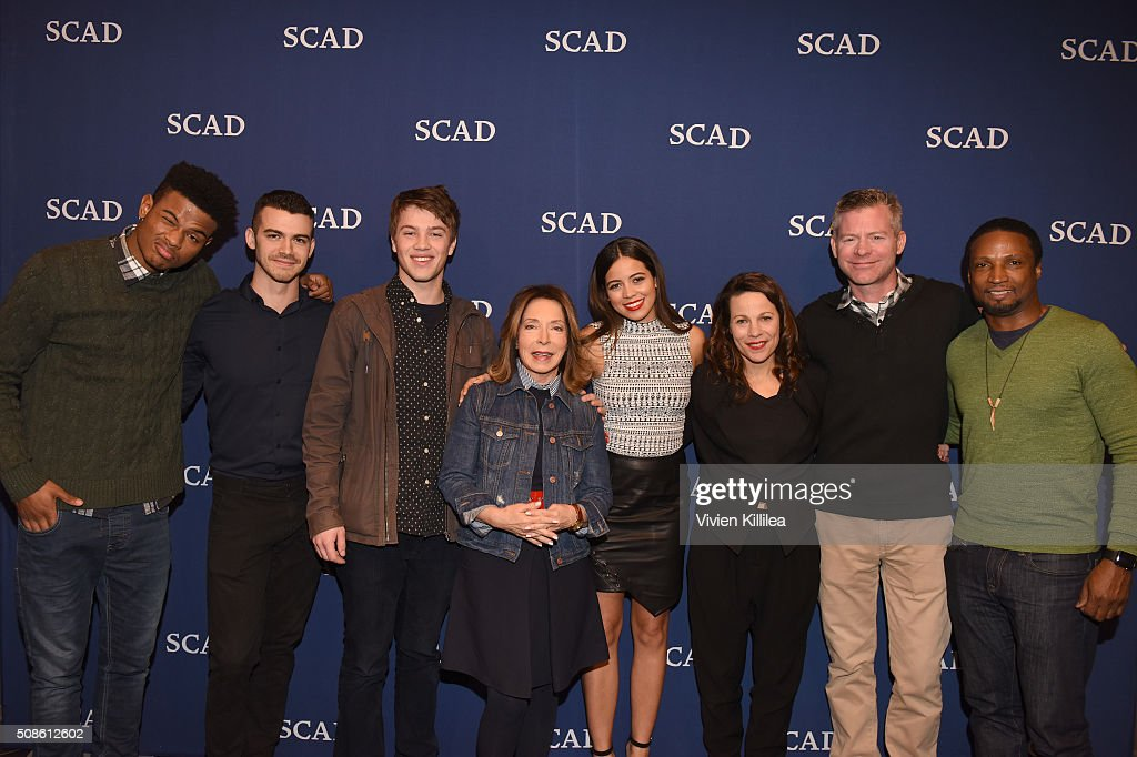 Actors Trevor Jackson, Joey Pollari, Connor Jessup, SCAD President and Founder Paula Wallace, actors Angelique Rivera and Lili Taylor, Executive producer Michael McDonald and actor Elvis Nolasco pose for a photo together during 'American Crime' event during aTVfest 2016 presented by SCAD on February 5, 2016 in Atlanta, Georgia.