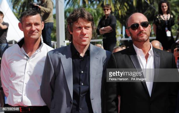 Actors Trevor Williams John Bishop and Mark Womack attend the premiere of Ken Loach's Route Irish in which they star during the 63rd Cannes Film...