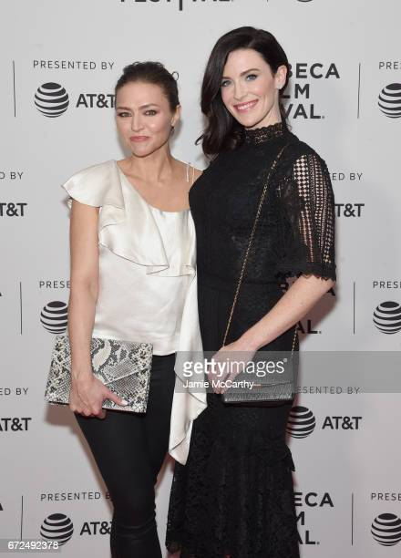 Actors Trieste Kelly Dunn and Bridget Regan attend the 'Devil's Gate' Premiere during the 2017 Tribeca Film Festival at Cinepolis Chelsea on April 24...