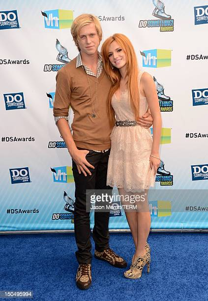 Actors Tristan Klier and Bella Throne arrive at the 2012 Do Something Awards at Barker Hangar on August 19 2012 in Santa Monica California