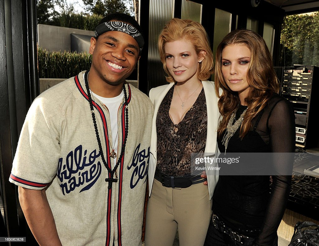 Actors Tristan Wilds, Angel McCord and AnnaLynne McCord pose at the CW Network's '90210' Season 5 Wrap Party on March 3, 2013 in Los Angeles, California.