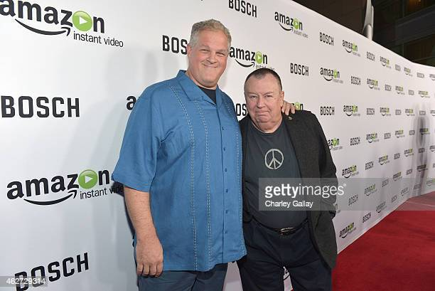 Actors Troy Evans and Abraham Benrubi arrive for the red carpet premiere screening for Amazon's first original drama series 'Bosch' at ArcLight...