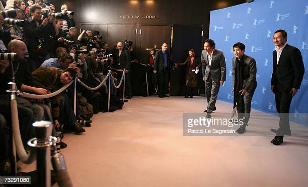 Actors Tsuyoshi Ihara Kazunari Ninomiya and Ken Watanabe attend the photocall to promote the movie 'Letters From Iwo Jima' during the 57th Berlin...