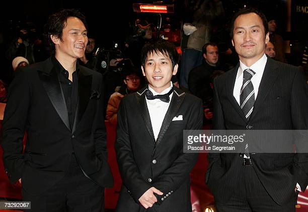 Actors Tsuyoshi Ihara Kazunari Ninomiya and Ken Watanabe attend the premiere to promote the movie 'Letters From Iwo Jima' during the 57th Berlin...