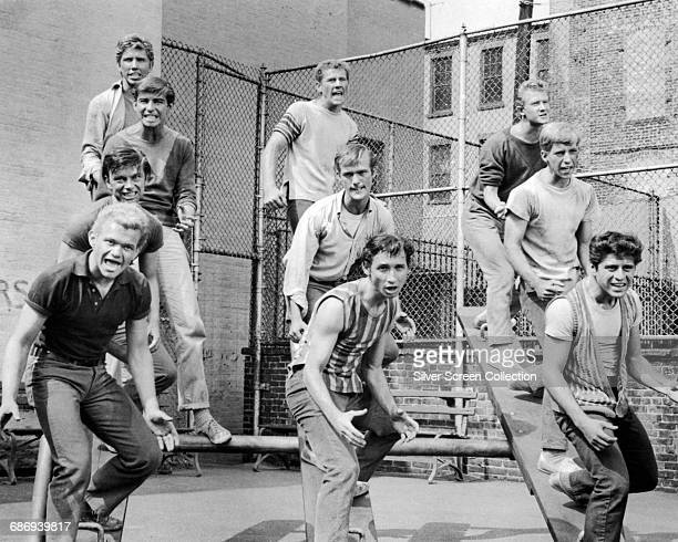 Actors Tucker Smith Scooter Teague and Tony Mordente are among the actors in a scene from the film 'West Side Story' 1961